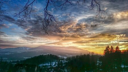 Majestic sunset in the mountains in beautiful landscape photo