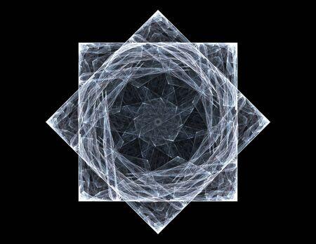 conceiving: Colorful fractal rings, digital artwork Stock Photo