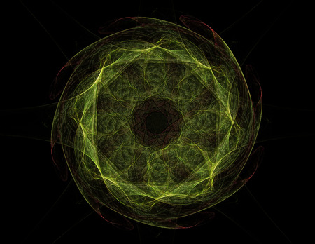macrocosm: Stained glass flower or butterfly, digital fractal art design