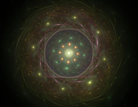 bokeh background: Illustartion of Gold glittering star dust circle Stock Photo