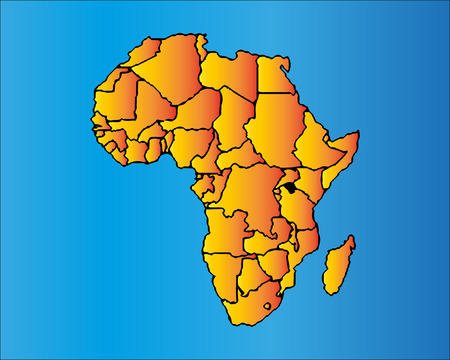 Map of Africa. The African Continent with Separable Borders