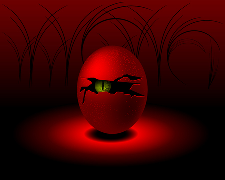 nightmarish: egg with cracked shell and hollow in middle with monster, vector illustration Illustration