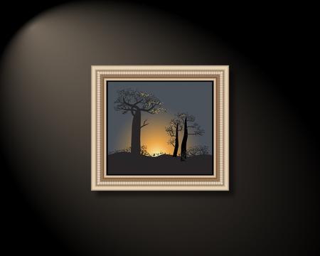 shielded: Framed image on wall. Vector illustration. Illustration