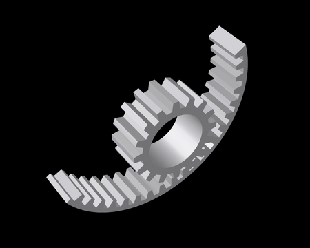 conjugation: Wire-frame reducer consisting of gears and shafts. Vector illustration.