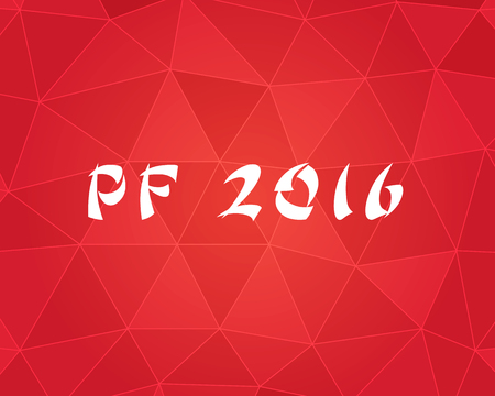 PF (Pour Feliciter, Happy news year) 2016 on the triangle paper pattern