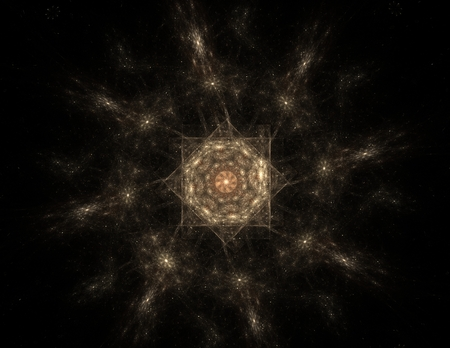 concept magical universe: Visually attractive backdrop made of conceptual grids curves and fractal elements Stock Photo