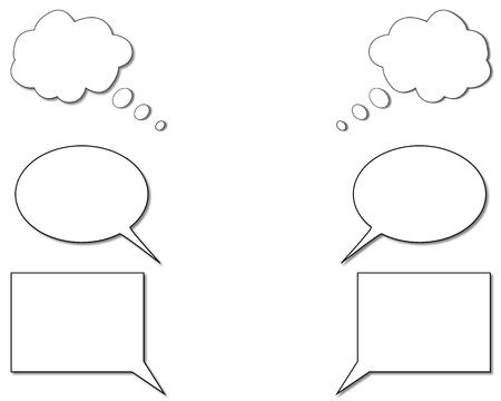 manifest: Different speech bubbles on white background.