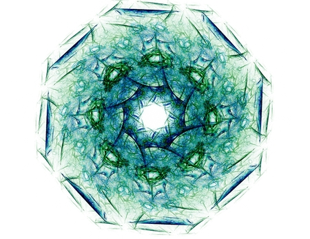 fractal background: Interplay of abstract fractal forms on the subject of nuclear physics science and graphic design.
