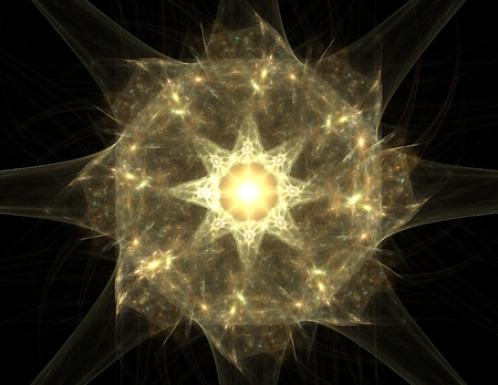 photon: Elementary Particles series. Interplay of abstract fractal forms on the subject of nuclear physics science and graphic design. Stock Photo