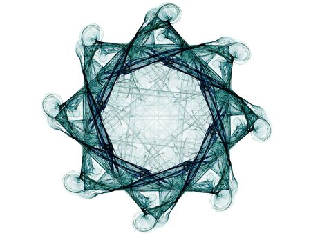 concept magical universe: Particles of abstract fractal forms on the subject of nuclear