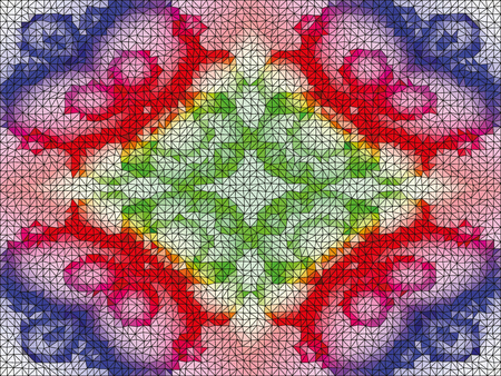 Kaleidoscopic low poly circle style mosaic background