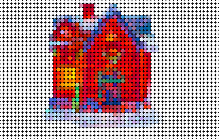 conceptional: Abstract house composed of colored circle