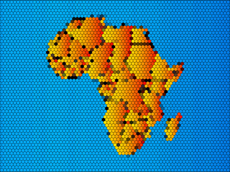 diagrammatic: Map of Africa. The African Continent with Separable Borders