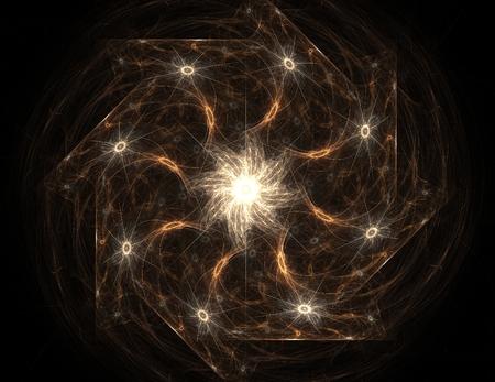 oscillation: Lacy colorful clockwork pattern. Digital fractal art design. Stock Photo