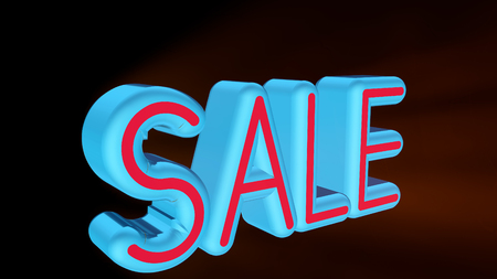 3d illustration neon text SALE. 3D rendering for business.