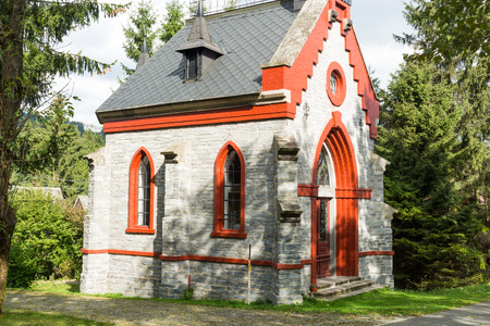 congregational: A little stone country church in the beginnings of fall colors. Stock Photo