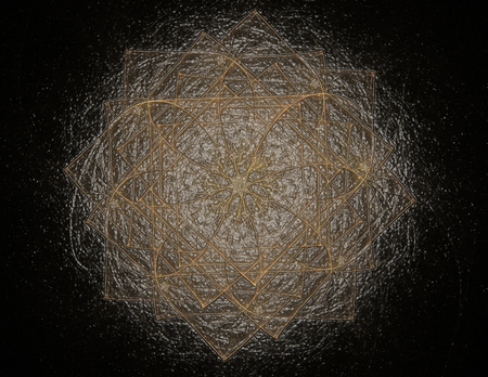 3D illustration particles of abstract fractal forms on the subject of nuclear Stock Photo
