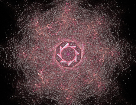 3D illustration particles of abstract fractal forms on the subject of nuclear Stock Illustration - 64309543
