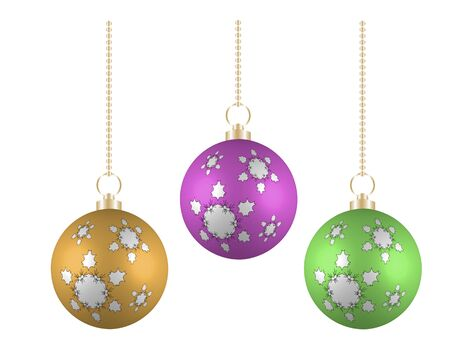 Christmas balls in different colors on white background Illustration