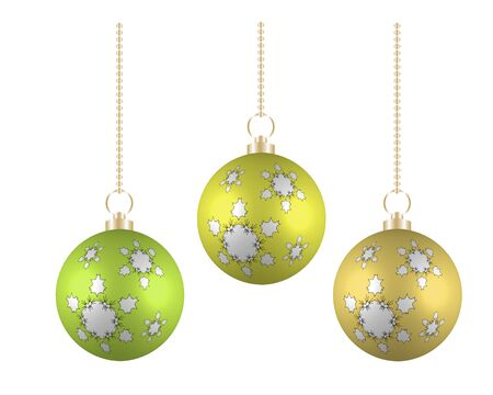 necklet: Christmas balls in different colors on white background Illustration