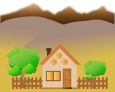 Illustration of a cartoon house with mountains in autumn season Illustration
