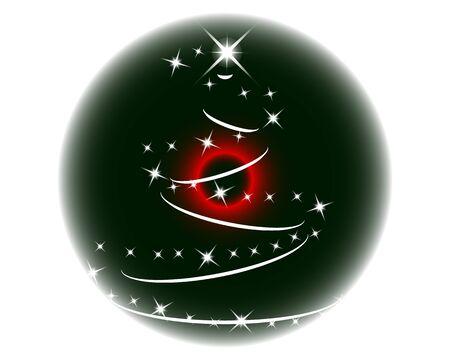 luminary: Close-up green eye looking up to luminary christmas tree Illustration
