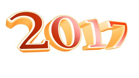 resolution: 3D rendering 2017 new year eve illustration on white background Stock Photo