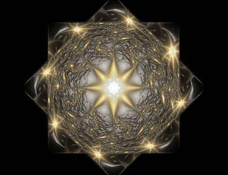 generating: Lacy colorful clockwork pattern. Digital fractal art design. Stock Photo