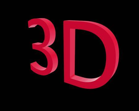 color 3d: 3d rendering color 3D letters on black background. 3d illustration.