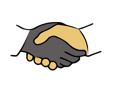 equal opportunity: Handshake vector illustration in flat design. Shaking hands for successful transaction, business and friendship. Illustration