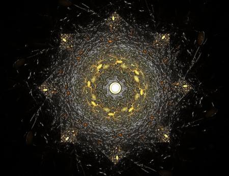 Las partículas de formas fractales resumen sobre el tema de la ciencia física nuclear y diseño gráfico. Geometría sagrada futurista cuántica textura holograma digital en el desarrollo de la onda del diseño surrealista.