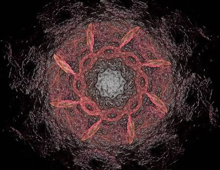 Lacy bunten Uhrwerk Muster. Digitale Fraktalkunstentwurf. Abstract Design der heiligen Symbole unterzeichnet Geometrie. Entwürfe der Astrologie Alchemie Magie. Geometrische Spirale. Abstrakte Bunte Fractal-Beschaffenheit. Standard-Bild - 76422455