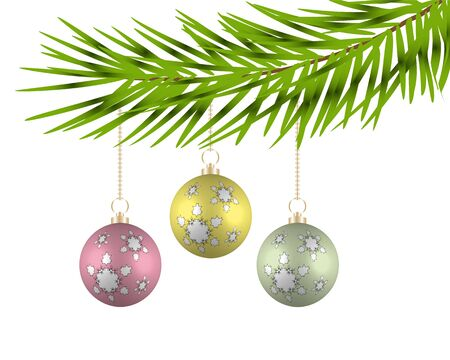Christmas balls on the branches of a tree. Vector illustration. Illustration