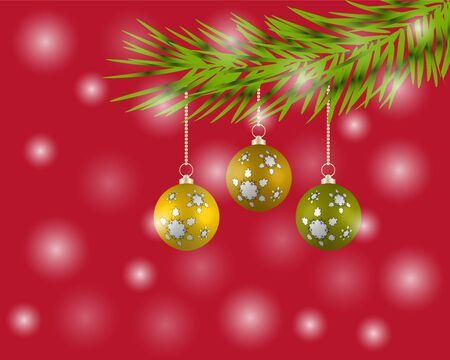 Christmas tree with colorful balls vector Illustration
