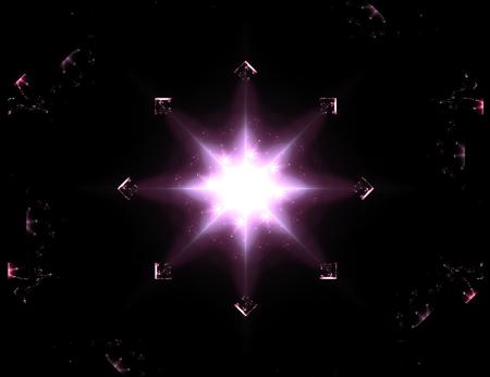 Colorful glowing neuron fractal Standard-Bild