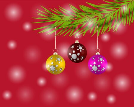 Christmas tree with colorful balls on a red illustration.