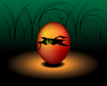 Egg Monster or Devil with green eye - Vector design Illustration