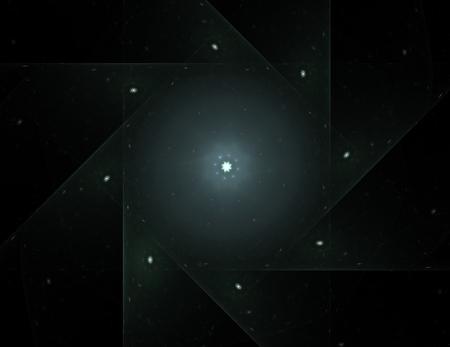 Deeltjes van abstracte fractal vormen voor wat betreft kernfysicawetenschap en grafisch ontwerp. Geometrie heilige futuristische quantum digitale hologramtextuur in surreal ontwerp van de ontwikkelingsgolf. Stockfoto