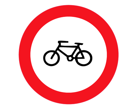 No bicycle, bike prohibited flat icon. Traffic and road sign, vector graphics. Solid pattern on white background Ilustração