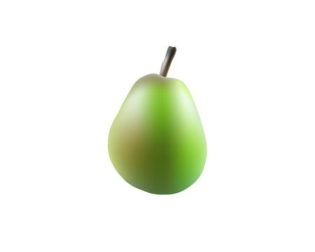 Single pear fruit close up. Raw pear isolated on white background. Qualitative vector illustration about pears agriculture.