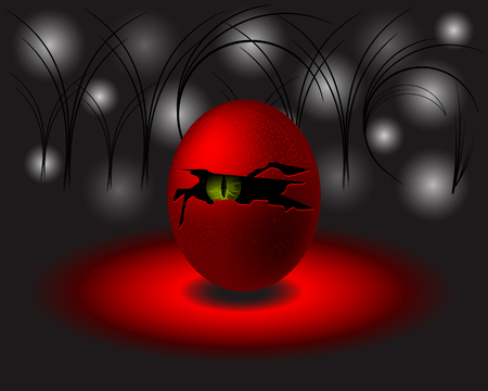 Egg Monster or Devil with green eye. Modern vector design. Illustration