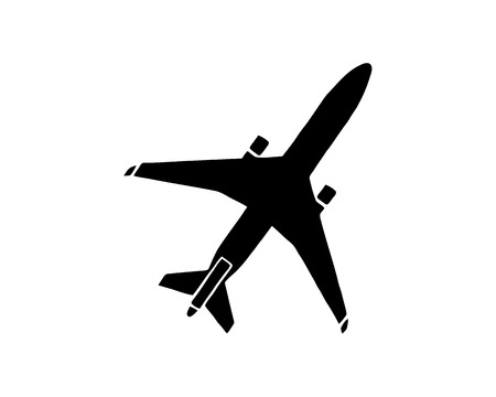 Airplane icon. Black minimalist icon isolated on white background. Airplane simple silhouette. Web site page and mobile app design vector element.