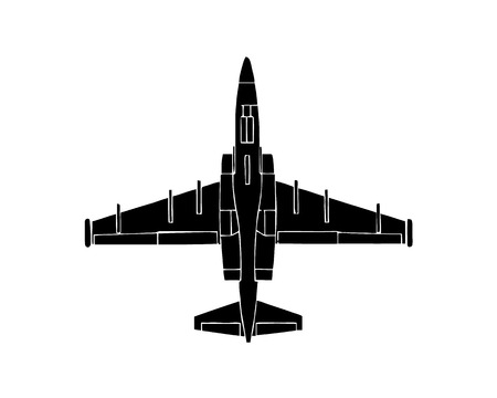 Black silhouette of military aircraft on white background. Fighter jet. Vector illustration.
