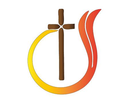 Abstract logo Cross flame religion catholic symbol vector
