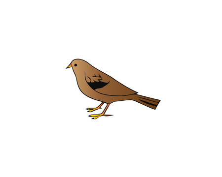 Abstract geometric symbol of brown sparrow. Silhouette of small passerine bird. Graphic element for logo, print, environmental banner or flyer. Vector illustration in flat style isolated on white. Zdjęcie Seryjne - 99466055