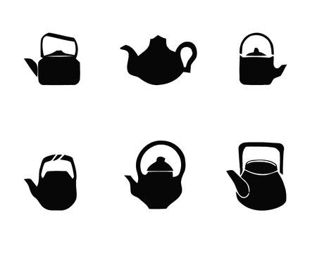 Kettle teapot icons set. Simple illustration of 6 kettle teapot logo vector icons for web