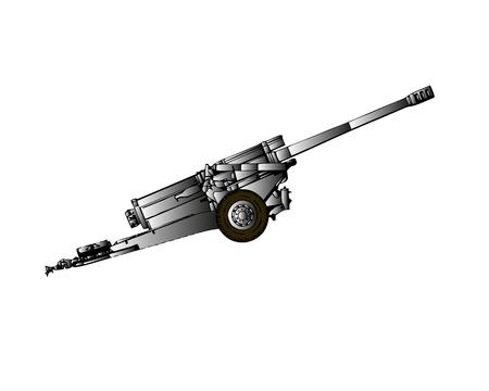 Vintage machine gun in a trench. Old soviet machinegun on position. Old cannon from world war 2. Old Powerful Military machine gun. Medieval cannon or machinegun on platform
