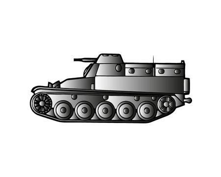 Military tank isolated on white. Armoured fighting vehicle designed for front-line combat, with heavy firepower, strong armour, tracks providing good battlefield manoeuvrability. Vector in flat style 일러스트