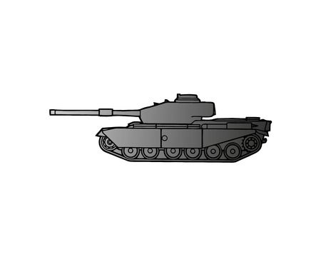 Military tank isolated on white. Armoured fighting vehicle designed for front-line combat, with heavy firepower, strong armour, tracks providing good battlefield manoeuvrability. Vector in flat style Illustration