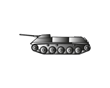 Military tank isolated on white. Armoured fighting vehicle designed for front-line combat, with heavy firepower, strong armour, tracks providing good battlefield manoeuvrability. Vector in flat style Ilustração